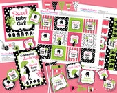 Pink and Green Elephant Hottsie Dottsie inspired DIY Party Printables Package. Pink and Lime Green with Elephants. Customized just for you.