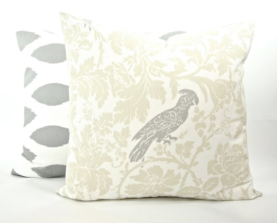 "Bird and Floral ""Barber"" Decorator Pillow Cover - Natural, Grey and White - Fabric Both Sides - To cover 20""x20"" Pillow Form"