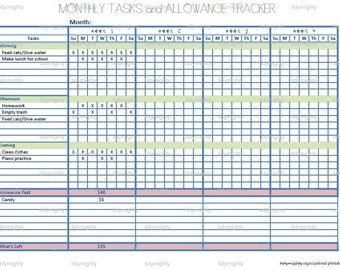 Allowance etsy for Allowance chart template