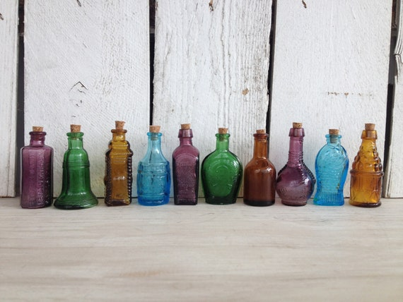 SALE Vintage 10 Miniature Bitters medicine bottles beautiful suncatchers and perfect for oil blends, cell salts, homeopathy pellets 2 inches