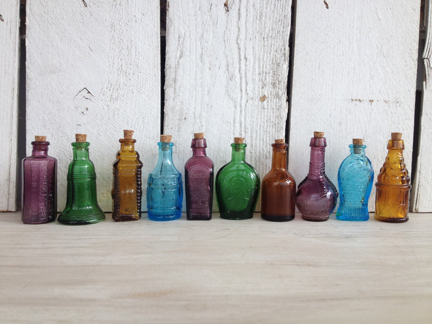 Sale Vintage 10 Miniature Bitters Medicine Bottles Beautiful