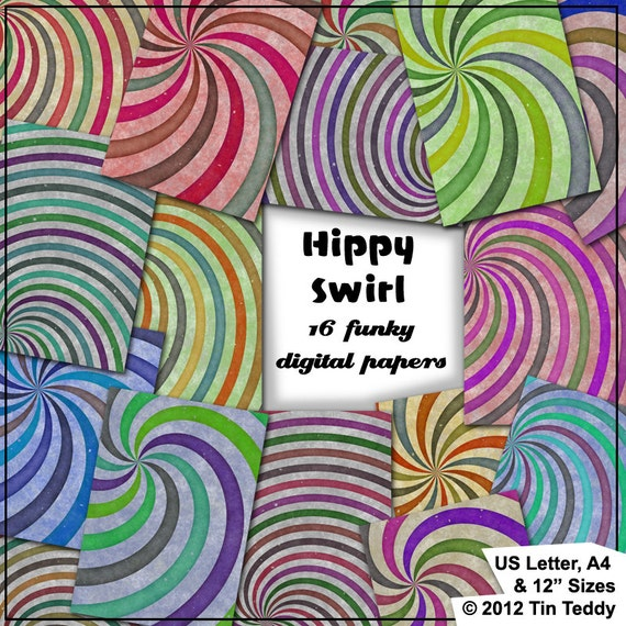 Hippy Swirls Printable Digital Papers 16 1960s Style Funky Etsy