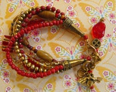 GOLD and RED multistrand bracelet with bumblebee dangle, lampworked beads,  wood, acrylic beads, chunky, funky