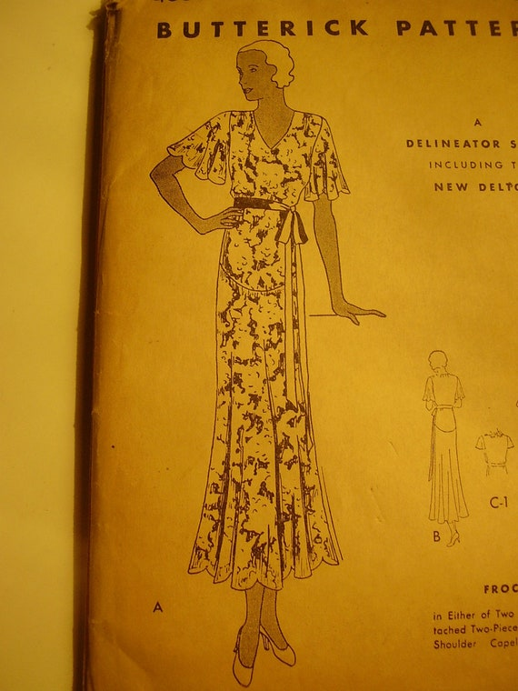 Vintage 1920s, 1930s Butterick 4584 Dress Sewing Pattern, Size 18, Bust 36