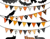 Halloween Bunting Clip Art Set - digital printable clipart - instant download