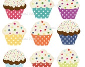 Polka Dot Cupcake Clip Art Set - colorful printable digital clipart - instant download