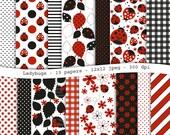 Ladybug digital scrapbooking paper pack - 15  printable jpeg papers, 12x12, 300 dpi - instant download