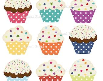 Polka Dot Cupcake Clip Art Set - colorful printable digital clipart - instant download