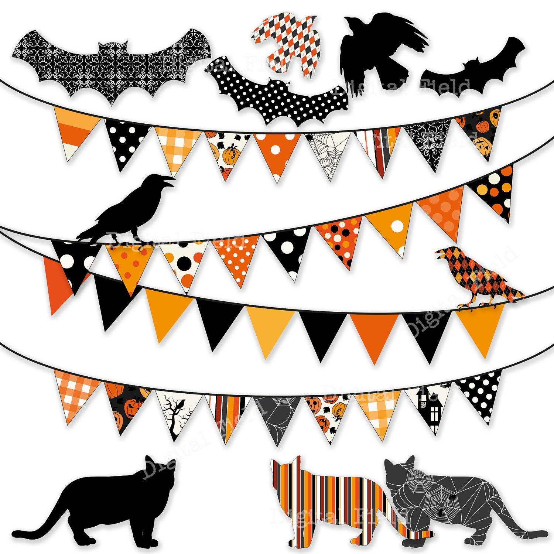 Halloween Bunting Clip Art Set digital printable clipart