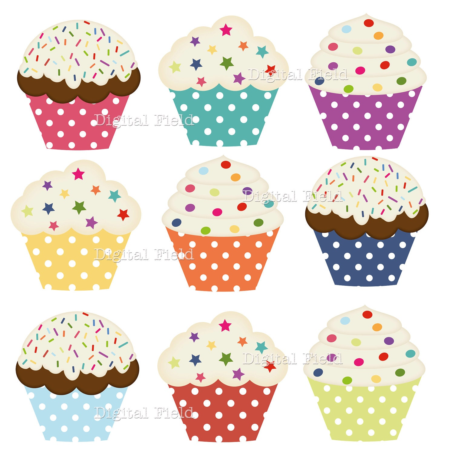 Free Printable Images Of Cupcakes : Polka Dot Cupcake Clip Art Set colorful printable digital