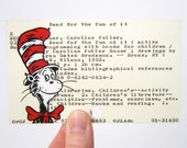 Cat in the Hat Library Card Art - Print of Cat in the Hat painted on library card catalog card - Dr. Seuss