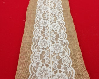 "Lace Table Runner on Natural Burlap.  Vintage Antique all sizes 72"" - 216"", for example 12""x108"" White, Ivory, Country or  Rustic Wedding"