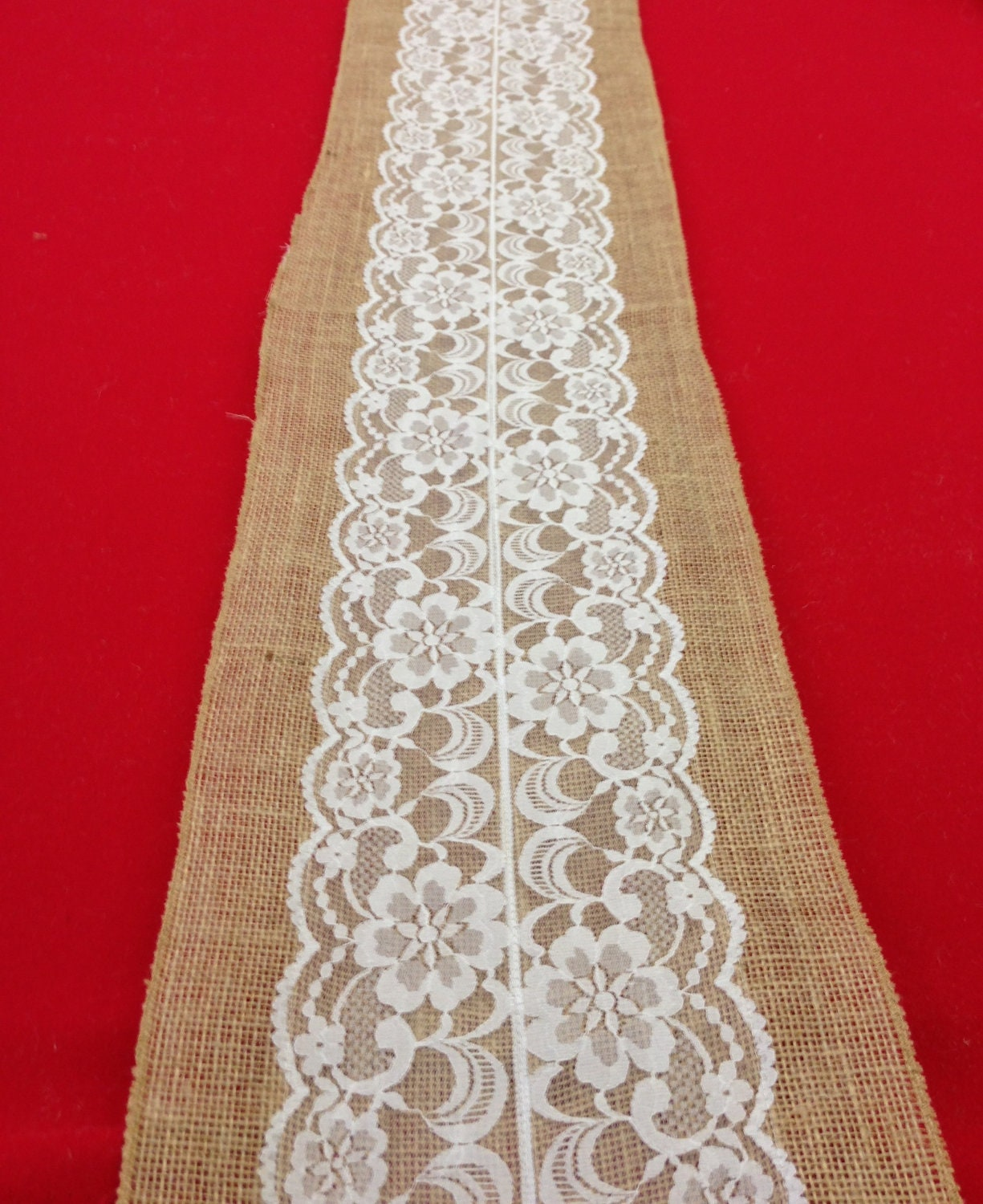 Lace table runner on burlap choose size white lace ivory for Table runner