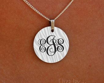 enameled zebra elegant monogram necklace