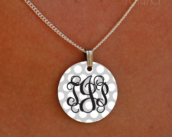 enameled polka dot vine monogram necklace