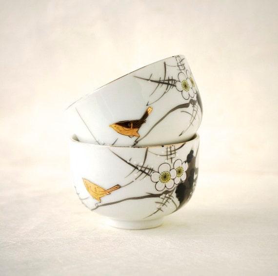 Vintage Porcelain Tea Cups Japanese Plum Blossom and Bird