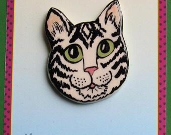 Tabby Cat face brooch jewelry