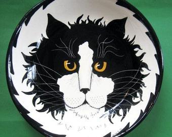 Tuxedo Cat Pasta Bowl original Cats By Nina Handmade