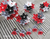 Paper Wedding Flowers Package - Black White Red Damask Origami Flowers