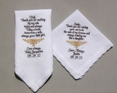 2pcs Embroidery Personalized Wedding Handkerchief to Mother of Bride & Father of Bride (Custom / Monogram )