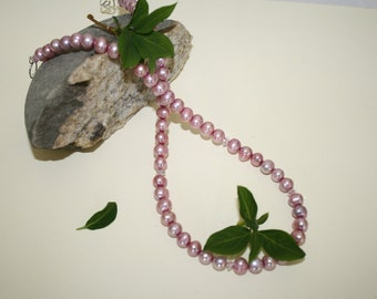 Fresh Water Rose Pink  Pearl Necklace with swarovski crystal.