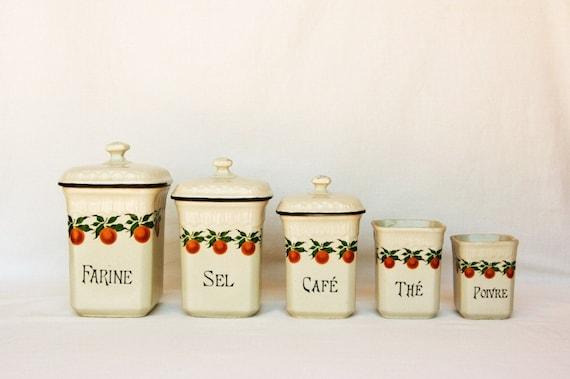Items similar to french decor canister set orange kitchen for Kitchen set items