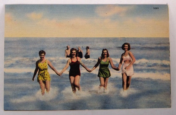 Happy Gals Running on the Beach Vintage Postcard for Altered Art, Collage, Mixed-Media and More Creations