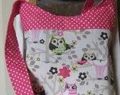 Handmade Fabric Bags Purses - Shoulder bag  - Owl and Pink Polka Dot Pattern Fabric