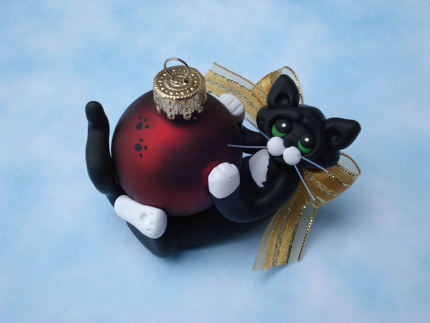 Polymer clay christmas ornament tuxedo cat personalized