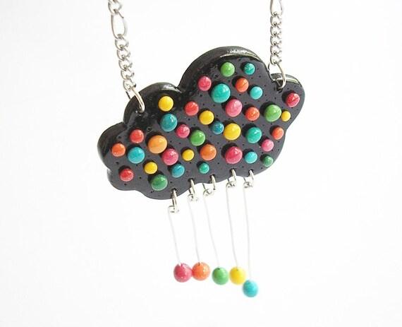 "Fun Jewelry / OOAK cloud necklace, polymer clay pendant, rainbow cloud  / ""Happy Rain"" /"