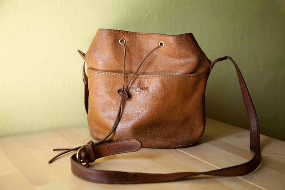 80s Italian leather bag / purse / Bucket bag / drawstring bag / Made in Italy form Florence