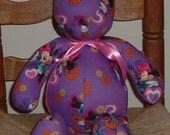 "Stuffed Teddy Bear - Purple Disney Minnie Mouse with Hearts & Flowers, Cotton Fabric -  17"" Tall"
