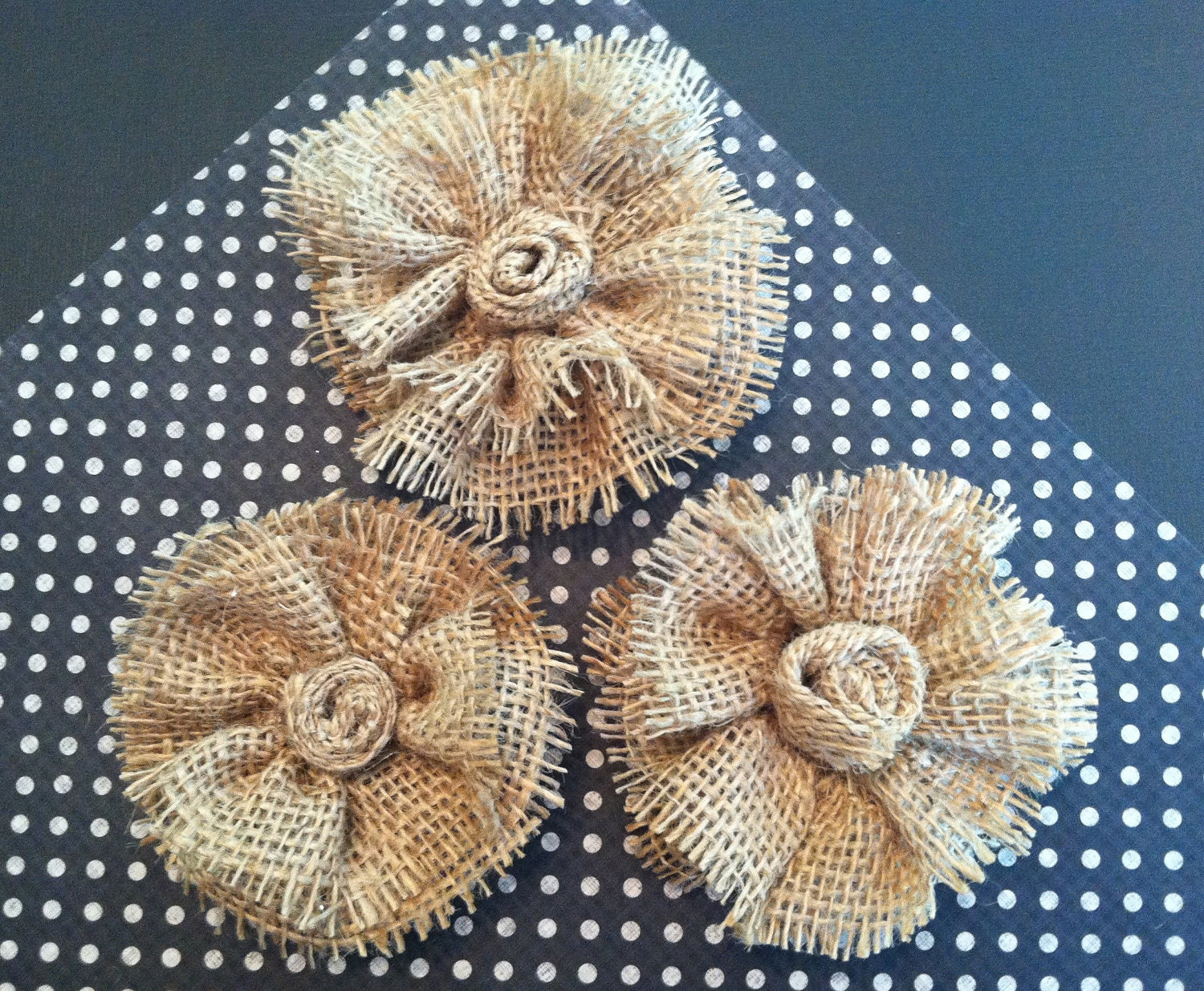 Set of Three Burlap flowers