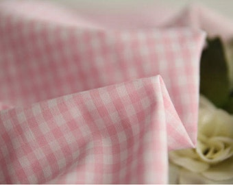 Light Pink Plaid 3 mm Cotton Fabric per Yard 23711