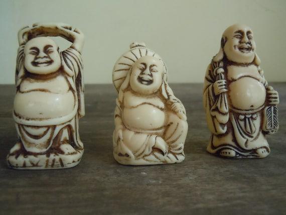 3 x Vintage Laughing Buddhas