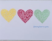 Embossed Hearts Thank You Card