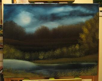 "11 X 14 ""Midnight at Moonlight Lake"" landscape oils on black canvas painting."