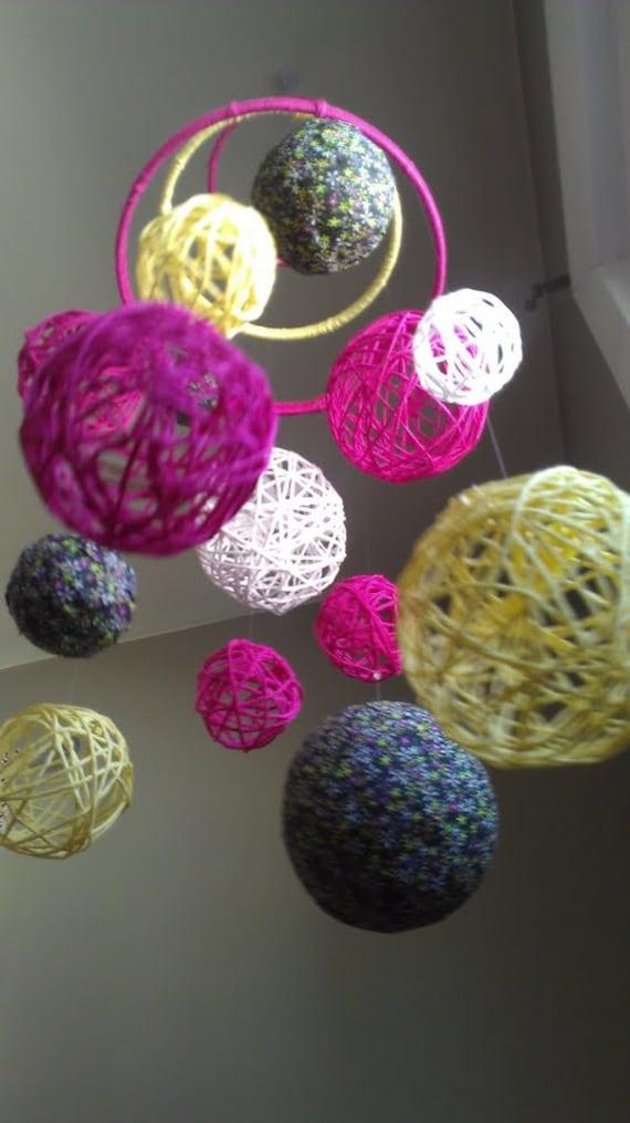 Pink and Yellow Yarn & Fabric Ball Baby Mobile - SALE