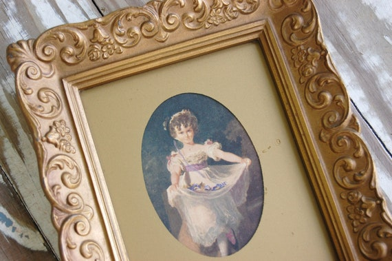 Small vintage eglomise matted picture - frame - gold - french country