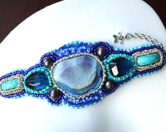 BLUE SKY Bead Embroidered Bracelet Cuff with blue agate OOAK handmade