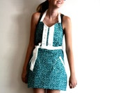 Teal Arrow Apron - organic blue green white floral arrow pattern retro adjustable cotton hostess apron with ruffles, pockets - TheSSSeamstress