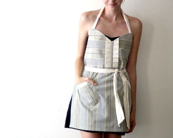 RESERVED FOR KAREN // Natural Stripe Apron - gray tan white and navy blue stripe adjustable twill hostess apron with ruffles, pockets