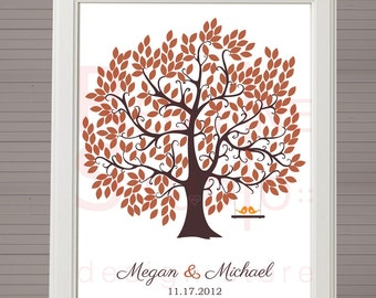 Wedding guest book alternative. Large tree 250 leaves. Printable. Autumn colors.