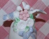 Vintage Porcelain Wedding Bell - Love Birds - Cake Topper - Shabby Chic - Pink - Blue - Flowers