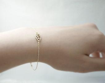 Gold leaf bracelet - brass leaf on gold filled - simple dainty illusy
