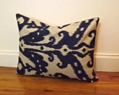 Deorative Throw Pillow Cover,Ikat Lumbar Pillow Cover,12x16,12x18, Navy Marrakesh Batik Throw Pillow,Toss Pillow, Accent Pillow