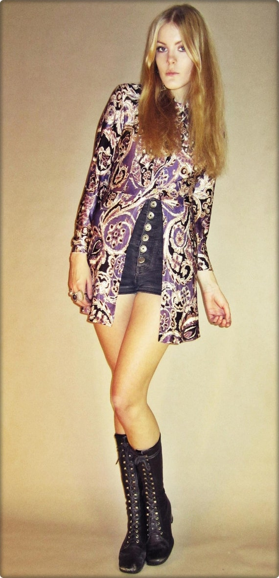 RESERVED // 60s Psychedelic Purple Paisley GoGo Mod Mini Dress Top