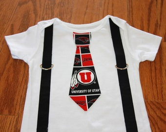Utah Utes boys Suspenders and Tie onesie or shirt - add sports leg warmers