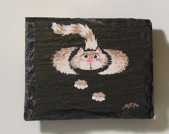 Fluffy White and Brown Cat Magnet on Slate