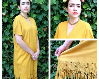 Handloom Woven Silk Dress from Oaxaca, Mexico, Naturally Dyed, Yellow, Size M/L